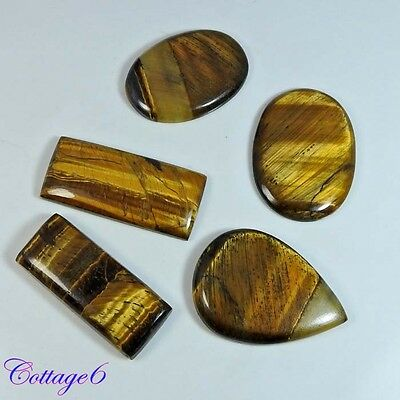 150Cts Natural Tigers Eye Gemstone Cabochon Gemstone Wholesale Lot 5pcs