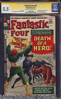Fantastic Four #32 Cgc 5.5 Oww Stan Lee Ss Signed Cgc #120332004