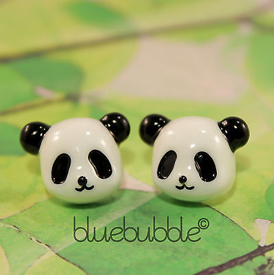 Funky Lucky Panda Bear Earrings Cute Kitsch Retro Novelty Cartoon  Kawaii Animal