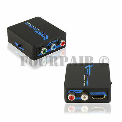Component Video RGB + L/R RCA Stereo Audio to HDMI Converter Adapter w/USB Power