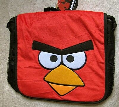 ANGRY BIRDS *Face* Plush Messenger Book Bag Tote Case