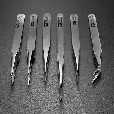 6 Pcs Steel Stainless Anti-static Tweezer Set Electronic Craft Tool TS10-15