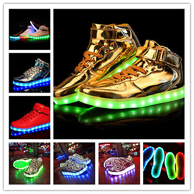 High Top Sports Shoes 7 Led Light Lace Up sneaker Luminous Casual Shoes NEW 2016