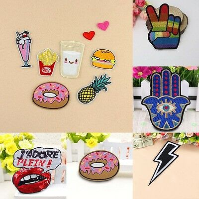 1/2/8 Pcs Fashion DIY Embroidered Cloth Iron On Patch Sew Motif Applique Crafts