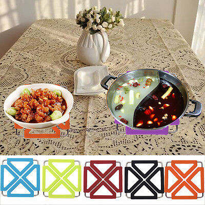 New Silicone Stainless Steel Trivet Mat Heat Resistant Foldable Pan Pot Holder