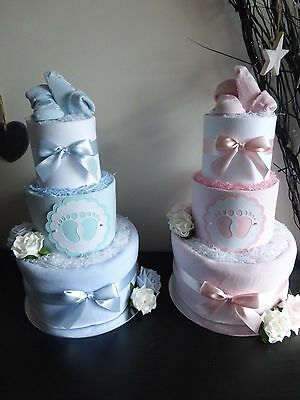 Lovely 3 Tier 'tiny toes' Nappy Cake. Baby gift (blue/pink)
