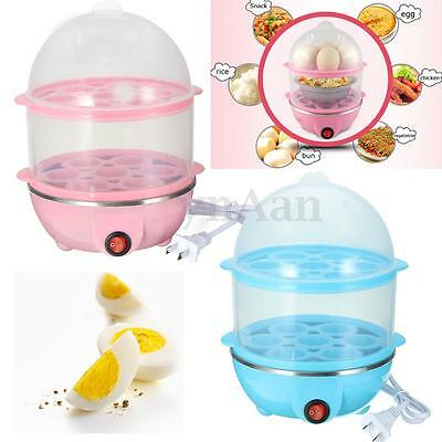 Auto Off Electric 14 Eggs Boiler 2 Layer Boiled Cooker Poacher Steamer Kitchen