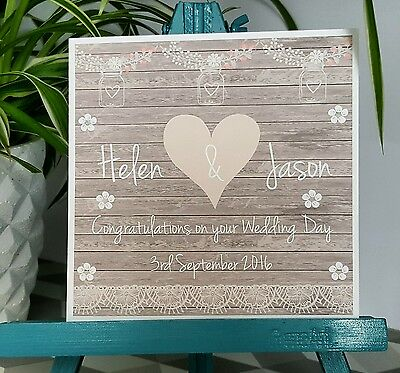 PERSONALISED Handmade Vintage Shabby Chic Style Wedding Card
