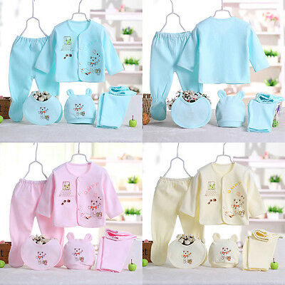 5pcs Cotton Newborn Baby Clothes Sets Boy Girls Sleepwear Long Pants 0-3 Month