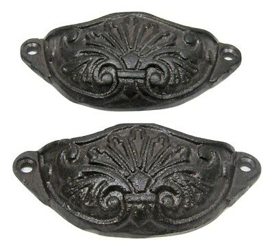 "Lot/Set of 2 Rustic New 4"" Cast Iron Small Drawer BIN PULL Handle Cupboard Cabin"