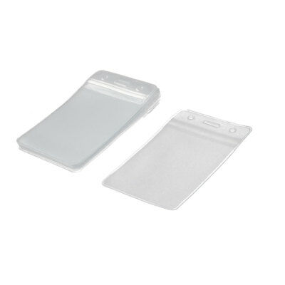 Company Factory Plastic Vertical Name Card ID Badge Holder Protector Pouch 10pcs