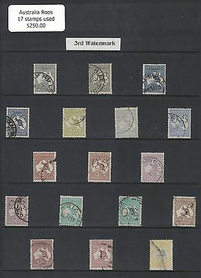 Australia Roos 3rd Wmk 17 used stamps