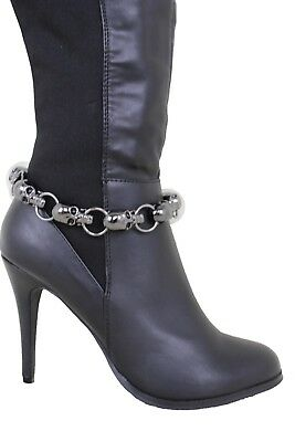 Women Silver Boot Chain Anklet Bracelet Heel Shoe Bling Jewelry Love Heart Charm