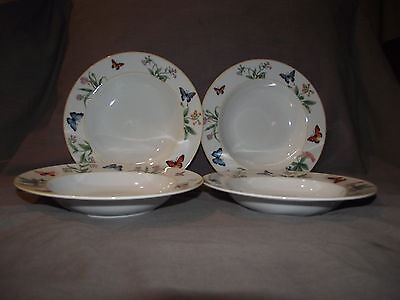 Set of 4 Gorham Butterfly Menagerie Rim Soup Bowls
