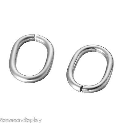 30PCs Dull Silver Tone Stainless Steel Oval Jump Rings Jewelry 13.5x10.5mm