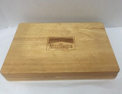 Vintage Marlboro Poker Set in Wooden Box Chips 2 Deck Sealed Playing Cards