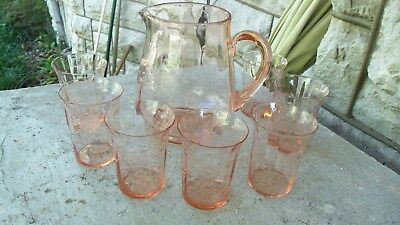 Rare Pink Floral Etched Depression Glass Pitcher Lid 6 Glasses Tumblers