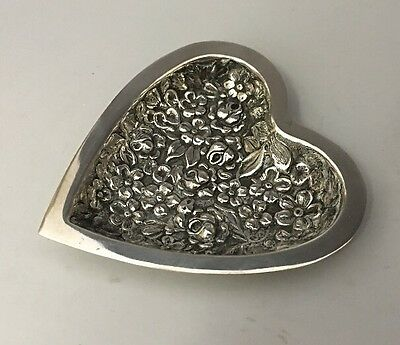 Floral STIEFF Repousse Heart Dish Sterling Silver... Stieff 1920