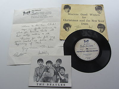 The Beatles 1963  Uk I The 1St  Beatles Fanclub Christmas Record & Letter & Card