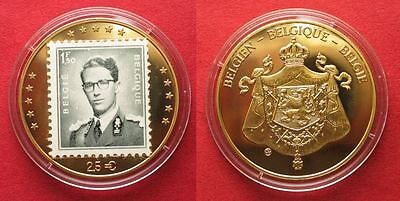 BELGIUM 2.5 Euro ND(1993) BAUDOUIN Cu-Ni gold plated w. stamp Proof # 94606