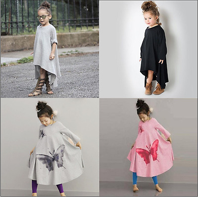 Kids Baby Girls Long Sleeve Dress Child Cotton Casual Spring Fall Clothes Outfit
