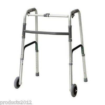 Zimmer Walker Frame with Wheels, Folding Lightweight Mobility Walking Aid.