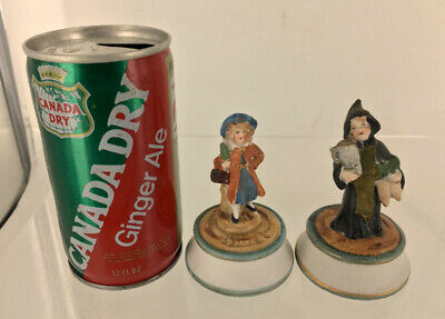 Antique Mini Bisque Dolls Figurines Children Costumes Victorian HP Pair Germany