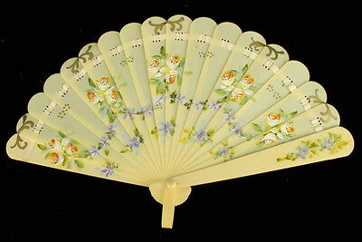 Antique Hand Painted Violet Garlands Roses Celluloid Child's Doll Fan Germany