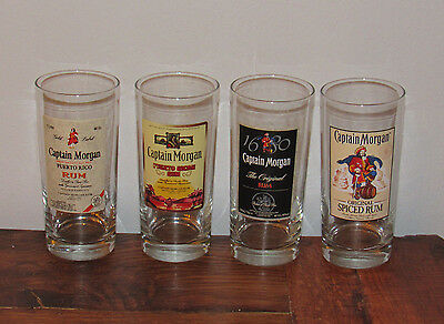"""CAPTAIN MORGAN Puerto Rican Rico Spiced Rum Drinking Glass Tumblers Set 4 6&1/4"""""""