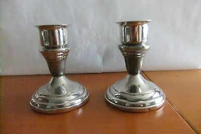 ANTIQUE VINTAGE Silverplate Pair of FB Rogers Candlesticks Holders