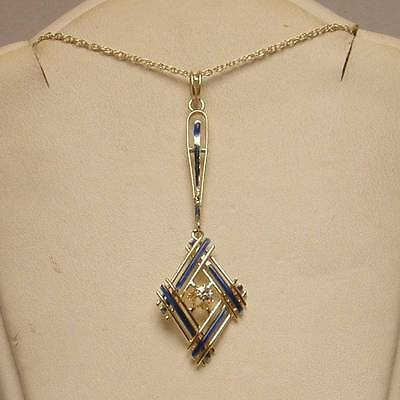 Diamond Blue Enamel Accented Vintage Necklace Set in 14K Yellow Gold