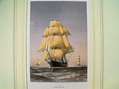 Antique Colour Lithographic Print HMS Active Victorian Ships Royal Navy