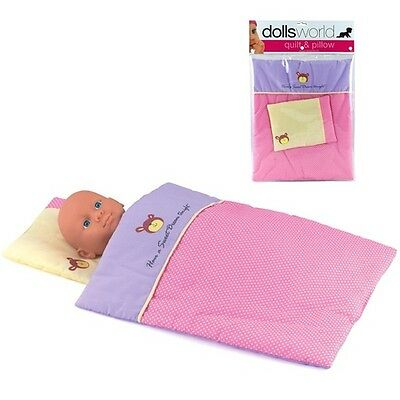 Dolls World Pink Cot Quilt and Pillow Bedding set for New Born Baby Dolls
