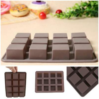 Hot 12 square silicone mold chocolate cake mold Ice Baking Mould Tray Craft  S
