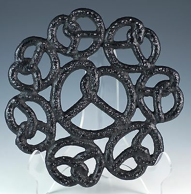 "Black Aluminum Metal Pretzel Trivet Lititz, PA ""Home of the Pretzel"" 4 Feet"