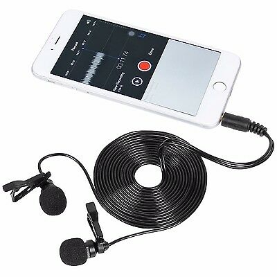 TONOR 3.5mm Lavalier Lapel Mini Microphone Dual Headed Clip-on Mic Recording