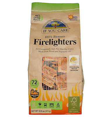 If You Care 72 100% Biomass Firelighters Environmentally Safe Fire Starting Cube