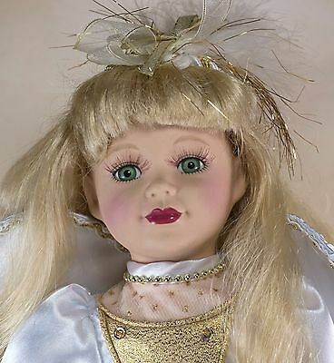 """The Brass Key Angel Collector's Porcelain Girl Doll 16"""" Blond Hair Green Eyes"""