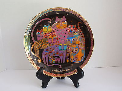 """Fabulous Felines Cats Collectable 8"""" Plate by Laurel Burch Franklin Mint"""