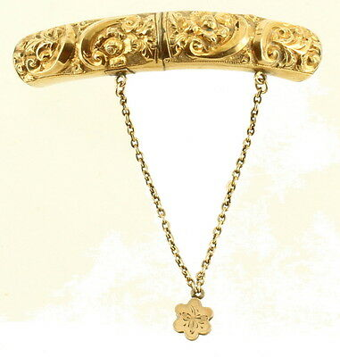 Antique Victorian GF Gold Filled Repousse Drop Chain Dangle Brooch Pin 2""