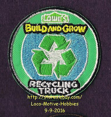LMH PATCH Badge  2014 RECYCLING TRUCK Garbage Trash LOWES Build Grow Kids Clinic
