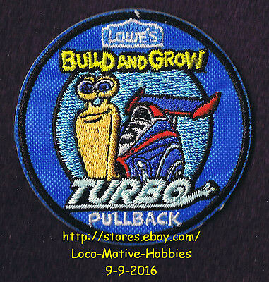 LMH PATCH Badge  2014 TURBO SNAIL CAR Pullback Race LOWES Build Grow Kids Clinic