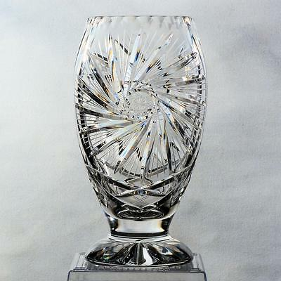 """Exquisite Cut Crystal Footed Vase - Vase#4, Pinwheel Design, Approx.10"""""""