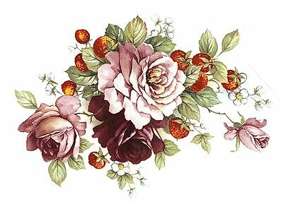 Pink Rose Strawberries Select-A-Size Waterslide Ceramic Decals Bx