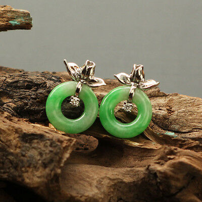 Natural Icy Emerald Green Peace annulus Jadeite 18K White Gold Stud Earrings