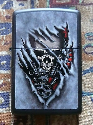 Skuls And Gothic Skull Gears Zippo Lighter Free P&p Free Flints