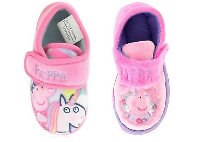 Girls Nick Jr Peppa Pig Slippers Shoes Pink Lilac Children's Toddler Size 5-10