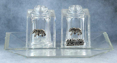 Vintage Crystalline Salt-n-Pepper Shakers With Tray In Box Souvenir Yellowstone