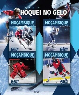 Mozambique - 2016 Ice Hockey on Stamps - 4 Stamp Sheet - MOZ16124a