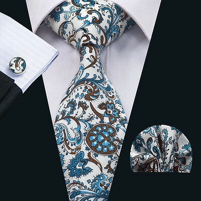 SN-1374 Cotton Necktie Blue Floral Mens Ties Cufflinks and hanky Wedding Party